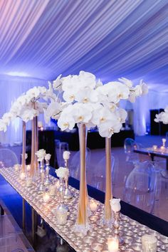 Liana + Manny - November 2015 - - New Ideas Orchid Centerpieces, Tall Wedding Centerpieces, Wedding Flower Arrangements, Floral Arrangements, Wedding Decorations, Tall Centerpiece, Wedding Vases, Eiffel Tower Centerpiece, Eiffel Tower Vases