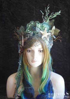 Magical Whimsycal Fantasy Fairy Mermaid Queen Princess Sea Nymph headdress headpiece crown costume tiara Just in case. Nymph Costume, Sea Costume, Costume Carnaval, Water Fairy Costume, Sea Queen, Mermaid Parade, Mermaid Crown, Mermaid Headpiece, Mermaid Fairy