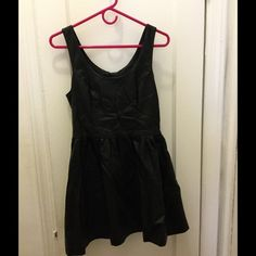Vegan leather party dress Black faux leather party dress with adorable flared skirt! Never worn! H&M Dresses Mini