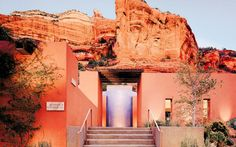 Mii Amo Spa at Enchantment Resort in Sedona, AZ.  Nestled into the red rocks and trees of central Arizona, this haven is a breathtaking, architecturally striking hideaway.  [mydomaine]
