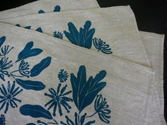 Screen Printed Linen Place Mats 4 by PalumaPrint on Etsy. , via Etsy. $28.00