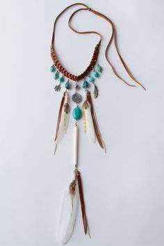 turquoise, stones and feathers - ideal floaty necklace for spirits