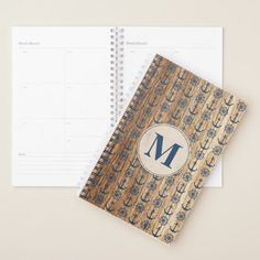 Monogrammed Blue Nautical Anchor And Ship Wheel 2 Planner - rustic gifts ideas customize personalize