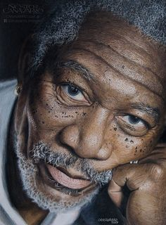 I spent about 50 hours in this Morgan Freeman portrait. I use only colored…