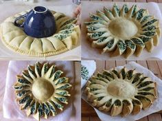 ⁂: Un sole in cucina (torta salata) spinach ricotta pie---I'll have to translate this, but the presentation is awesome