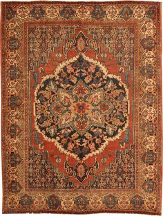 """Antique Persian Senneh / Senna 460, Size: 3'5"""" x 4'6"""" Origin: Persia, Circa: Mid 19th Century -This lovely, eye-catching antique Oriental rug – a Senneh piece made in Persia some time during ..."""