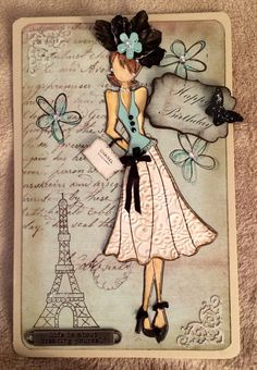 Birthday Card for young lady. Prima Doll Stamps by Julie Nutting.