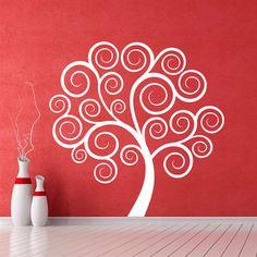 Bonito y elegante vinilo decorativo de árbol de espirales. Un vinilo estupendo para decorar con alegría y estilo cualquier pared vacía.