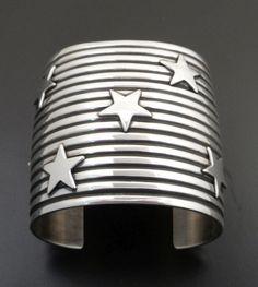 """Andy Cadman Sterling Silver Bracelet Stars 2 3/8"""" Wide 6.5"""" Wrist"""