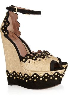 Paille Glamour embellished raffia and suede wedge sandals