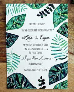Oh So Beautiful Paper: Lola + Ryan's Hand Painted Tropical Wedding Invitations