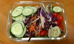 Whole30 Day Three Lunch: Spinach salad with shredded carrots, cherry tomatoes, sliced cucumber, and red cabbage. No dressing today, haven't had a chance to make any. I did eat three boiled eggs (not pictured) and the rest of the cucumber from this morning.