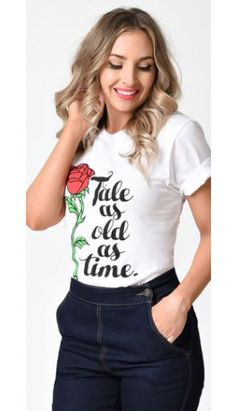 From our Beauty and the Beast Collection: The Main Street Press White & Red Rose Tale As Old As Time T-Shirt