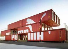 PUMA City [Shipping Container Store] by LOT-EK. Shipping Container Store, Shipping Container Buildings, Container Shop, Cargo Container, Container Design, Shipping Containers, Container Office, Shipping Crates, Container Architecture