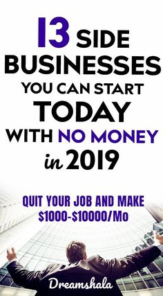13 side businesses you can start today with no money. Earn Money From Home, Make Money Fast, Earn Money Online, Online Jobs, Online Cash, Free Money, Start A Business From Home, Work From Home Jobs, Starting A Business