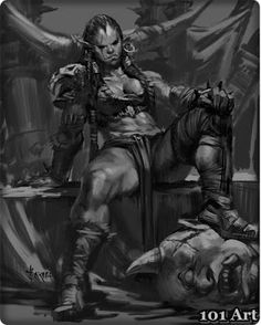 on character art & illustration fa Fantasy Races, High Fantasy, Fantasy Women, Fantasy Rpg, Medieval Fantasy, Fantasy Girl, Fantasy Artwork, Orc Warrior, Fantasy Warrior