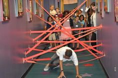 put streamers on the wall and have the kids go through like an obstacle course.                                                                                                                                                                                 More