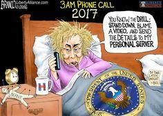 Hillary Clinton  :  Nightmare – It's a President Hillary Clinton 3am phone call. #WakeUpAmerica. Cartoon by A.F.Branco ©2016.