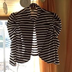 Black and white striped crop jacket. Trendy little knit jacket with 3/4 sleeves, mandarin collar over wide lapel. Unlined. Bought and never worn. It's labeled a plus size but I can fit it.  I wear M, L, 10. Janette plus Jackets & Coats