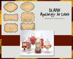 Blank Apothecary Jar Labels  Digital Files  Instant by TLCArts