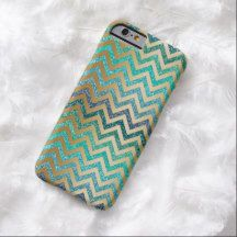 Elegant Chic Trendy Faux Shiny Gold Blue Teal Turquoise Colored Glitter Zigzag Chevron Pattern iPhone 6 Case