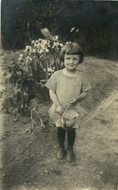 1924 Vintage Photo Postcard Helping in the Garden