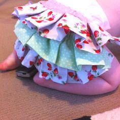 Ruffle nappy cover modeled by Maya
