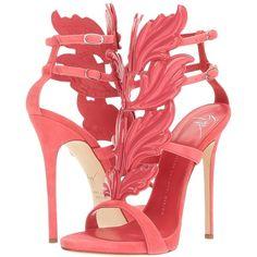 Giuseppe Zanotti Suede Winged Sandal (Cam Azalea) Women's Shoes ($1,595) ❤ liked on Polyvore featuring shoes, sandals, heels, high heel sandals, high heel platform sandals, open toe sandals, embellished sandals and high heel stilettos