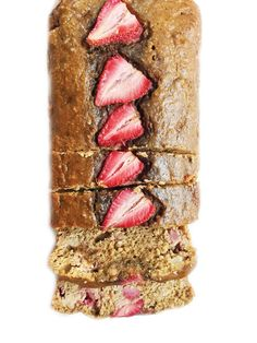 Flourless Strawberry Oatmeal Banana Bread made with less than 8 good-for-you ingredients. The perfect breakfast, snack or dessert bread.