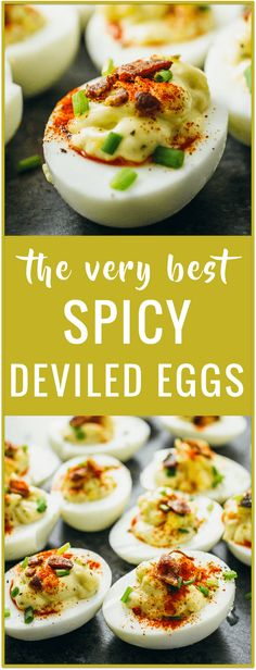 Spicy deviled eggs recipe Party food Easter food Appetizer food Easy recipe Stuffed eggs Angel eggs Dressed eggs Salad eggs best deviled eggs via /savory_tooth/ Spicy Recipes, Appetizer Recipes, Cooking Recipes, Healthy Recipes, Party Appetizers, Recipes Dinner, Easter Recipes, Brunch Recipes, Best Food Recipes