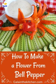 How to make a garnish flower from bell pepper. We can make flowers with this technique from other pepper as well. I made from habanero so pretty orange and beautiful red from the chili. My family doesn't like too hot food, so I make garnish from small bell peppers. Watch the video and see yourself how pretty the pepper flower garnish.