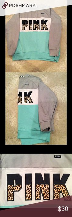 PINK Cheetah Sweatshirt Victoria Secrets PINK Sweatshirt. Cheetah Print Pink. Grey, White and Aqua Blue Color Block. Only Worn Once. Size Small. Make Me An Offer! PINK Victoria's Secret Tops Sweatshirts & Hoodies