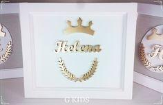 PORTA MATERNIDADE PROVENÇAL HELENA  Decoração quarto de bebê, porta maternidade branco, coroa dourada, quarto menina, #baby, #nursery, #room www.gkids.com.br