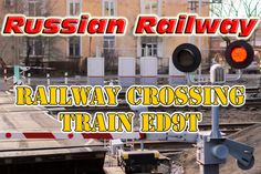Russian Railway Crossing. Train ED9T