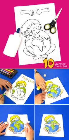 Earth Day Printable Craft Easy Arts And Crafts, Crafts For Girls, Crafts To Do, Earth Craft, Earth Day Crafts, Fun Activities For Kids, Science For Kids, H Preschool Crafts, Printable Crafts
