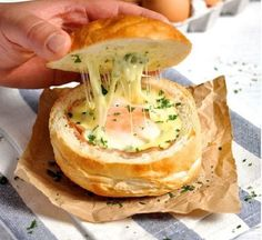 Ham Egg and Cheese Bread Bowls. Not a single baking tray pot or kitchen utensil needs washing. Ham Egg and Cheese Bread Bowls- Great for feeding an army and making ahead. Crack Bread, Recipetin Eats, Campfire Food, Campfire Recipes, Bread Bowls, Cheese Bread, Camping Meals, Camping Hacks, Camping Cooking