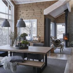 scandinavian cabin in the woods wood paneled modern chalet log home woods modern and cabin scandinavian wood cabins Cabin Interiors, Wood Interiors, Modern Interiors, Chalet Interior, Interior Design, Modern Cabin Interior, Modern Cabin Decor, Modern Log Cabins, Brown Interior