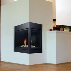 modern corner wood burning fireplace - Google otsing