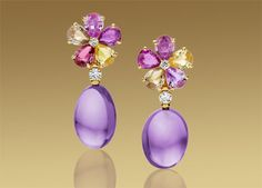 MEDITERRANEAN EDEN earrings in 18 kt yellow gold with coloured gemstones, diamonds and pavé diamonds.