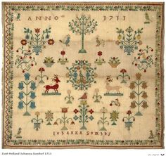 1711 Dutch embroidery sampler by Johanna Somhof in Zuid-Holland, The Netherlands.  Category: Merk- en stoplappen