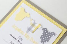 Baby Shower Invitation or Menu    Yellow and Gray Gender Neutral Onesie    Set of 12 on Etsy, $36.00