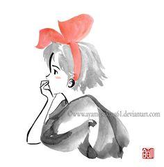 Kiki daydreaming - sumi-e : Thank you everyone for faving this! Kiki daydreaming - sumi-e Ghibli Tattoo, Studio Ghibli Art, Studio Ghibli Movies, Hayao Miyazaki, Kiki Delivery, Castle In The Sky, Animation, Totoro, Cute Art