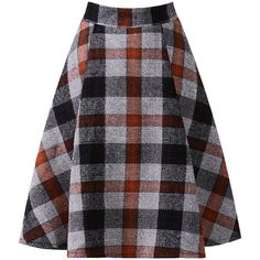 Blackfive Plaid Md-long Woolen Skirt ($24) ❤ liked on Polyvore featuring skirts…