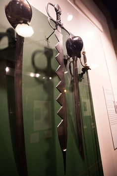 This 16th century Italian boarding sword was used in naval warfare. Its saw-toothed blade was used for cutting through thick ropes and cables on ships.