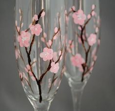 I Love Cherry Blossoms! Cherry Blossom Painted Flutes by MommysDream on Etsy, $60.00 #ibhandmade