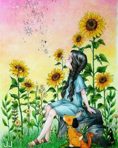 Colouring Pages, Coloring Books, Cute Girl Illustration, Sunflower Wallpaper, Cute Cartoon Girl, Forest Girl, Cute Drawings, Cute Wallpapers, Cute Art