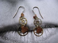 steampunk earrings rock