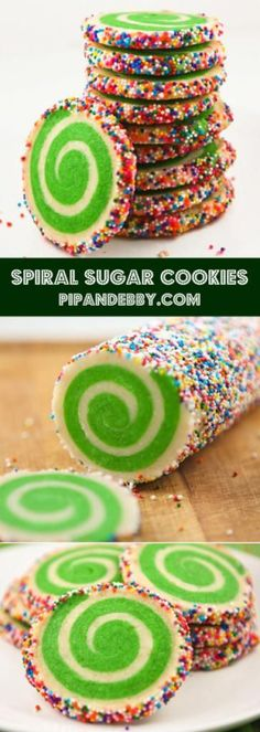 Spiral Sugar Cookies - these cookies are a festive addition to any occasion! Christmas. birthday parties. Easter...just change the color of the dough accordingly!