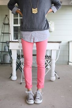 Chambray, pullover, pink jeans and converse.