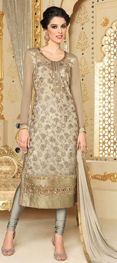 454904 Beige and Brown color family Party Wear Salwar Kameez in Net fabric with Lace, Machine Embroidery work . More